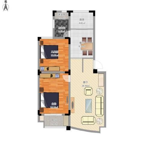 紫荆苑2室2厅1卫1厨108.00㎡户型图