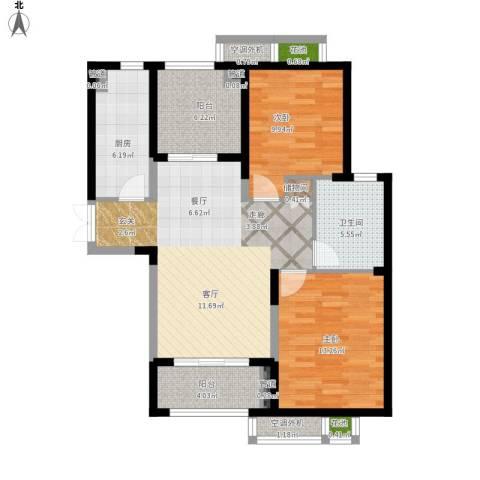 置地青湖语城2室1厅1卫1厨109.00㎡户型图