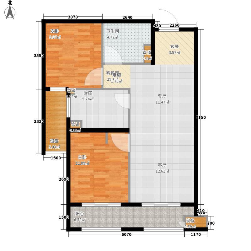 林荫大院85.00㎡二期15#16#B3户型2室2厅