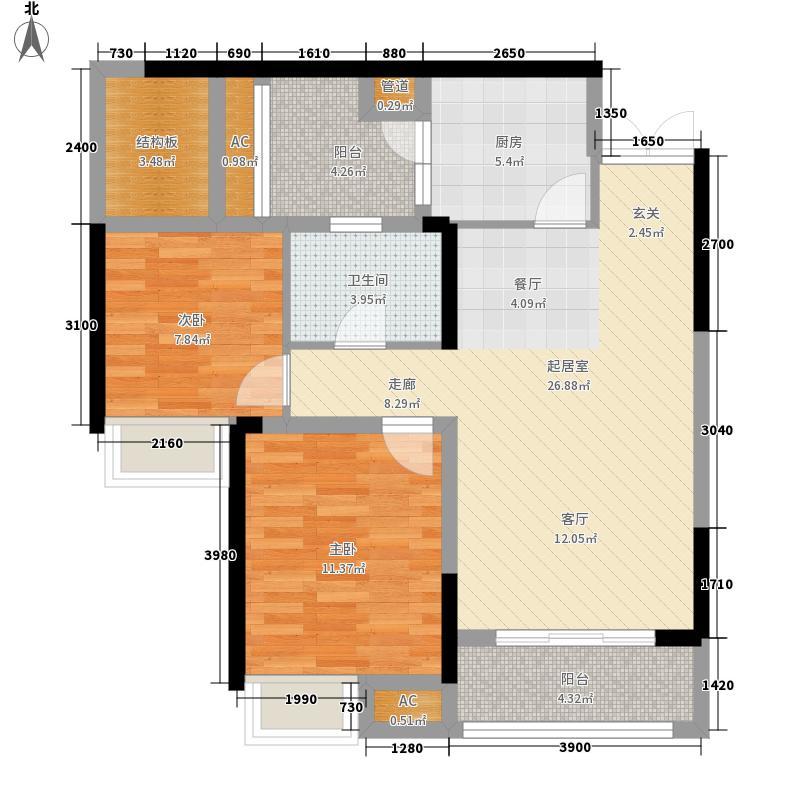 华润中央公园5号楼E6户型2室2厅