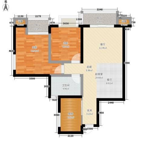 康路蓝山日记2室0厅1卫1厨76.00㎡户型图