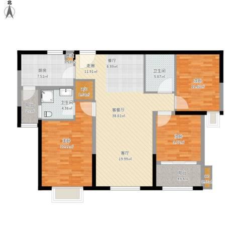 澄波湖壹号3室1厅2卫1厨146.00㎡户型图