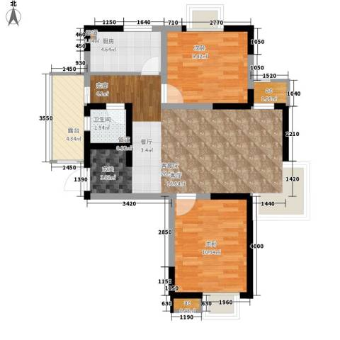 宏城御溪园2室1厅1卫1厨88.00㎡户型图