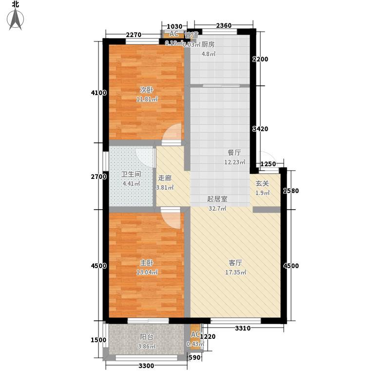 博维左岸香颂91.36㎡洋房B户型2室2厅