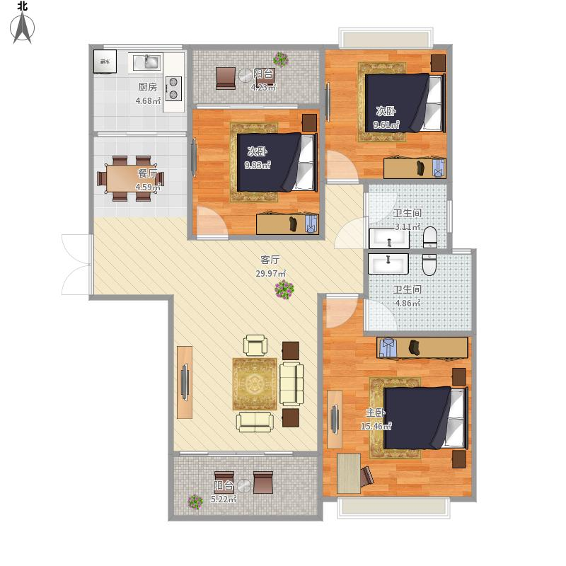 海天城132方三室两厅