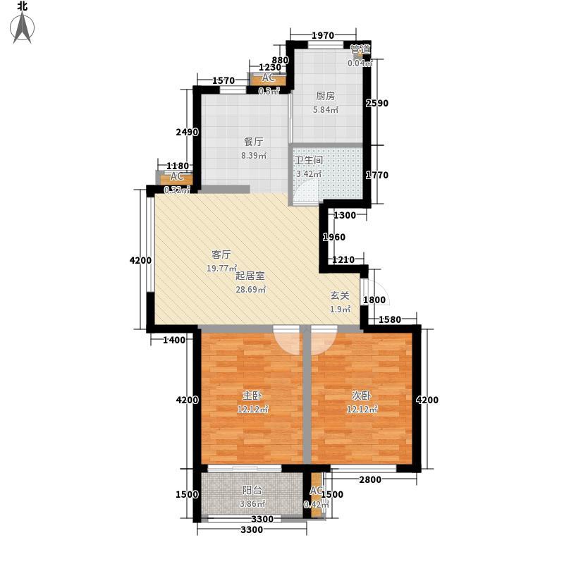 博维左岸香颂95.45㎡小高层A户型2室2厅