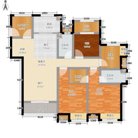 世茂公元3室1厅2卫1厨143.00㎡户型图