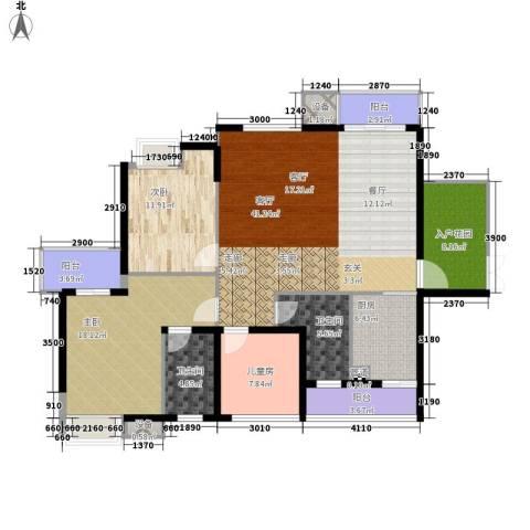 万花冲壹号3室1厅2卫1厨164.00㎡户型图