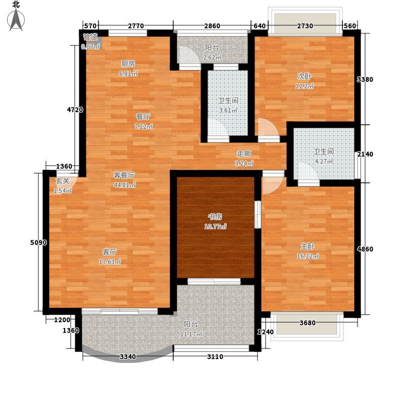 金山家园123.38㎡三室两厅户型