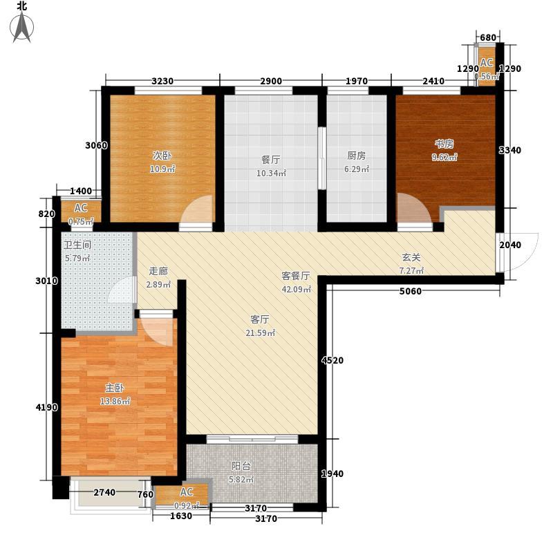 绿地城111.00㎡3#4#楼L3户型3室2厅