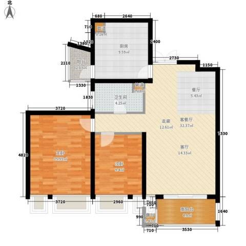鑫汇苑小区2室1厅1卫1厨95.00㎡户型图