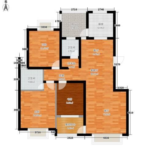 御景东方3室1厅2卫1厨121.00㎡户型图