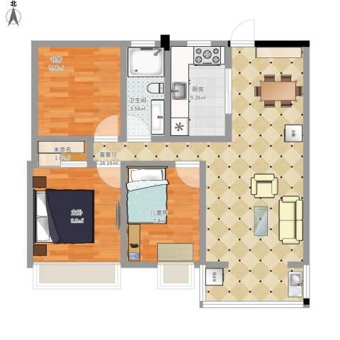 雍华府3室1厅1卫1厨87.00㎡户型图