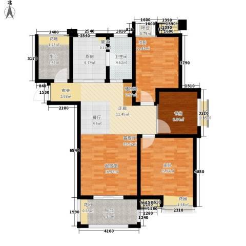 亚泰梧桐世家3室1厅1卫1厨111.00㎡户型图