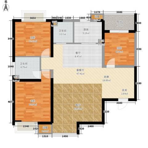 绿辰公元赏3室1厅2卫1厨133.00㎡户型图