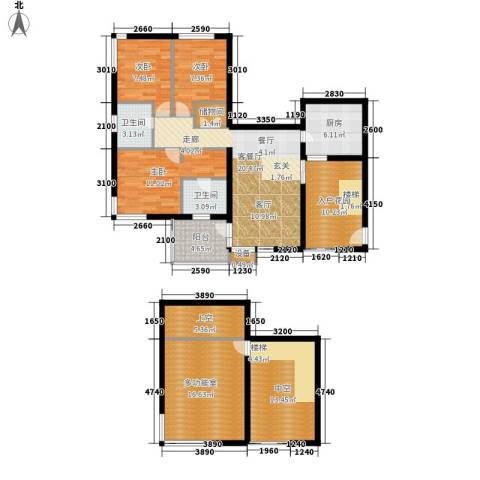 鑫龙天然居3室1厅2卫1厨127.00㎡户型图