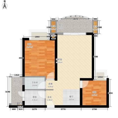 皇冠自由城2室0厅1卫1厨69.00㎡户型图