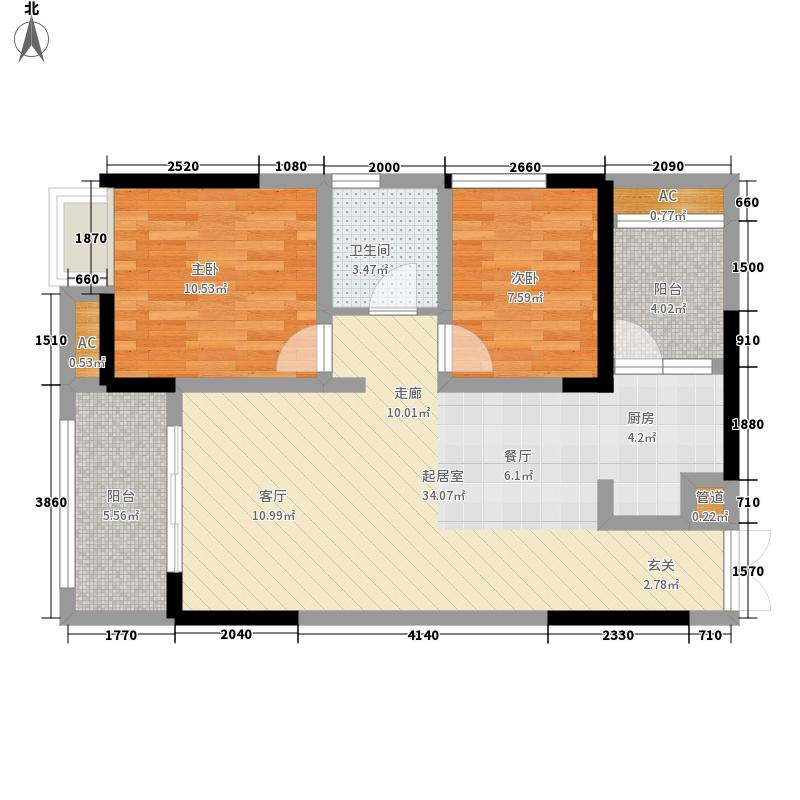 华润中央公园中央公园三期户型2室2厅