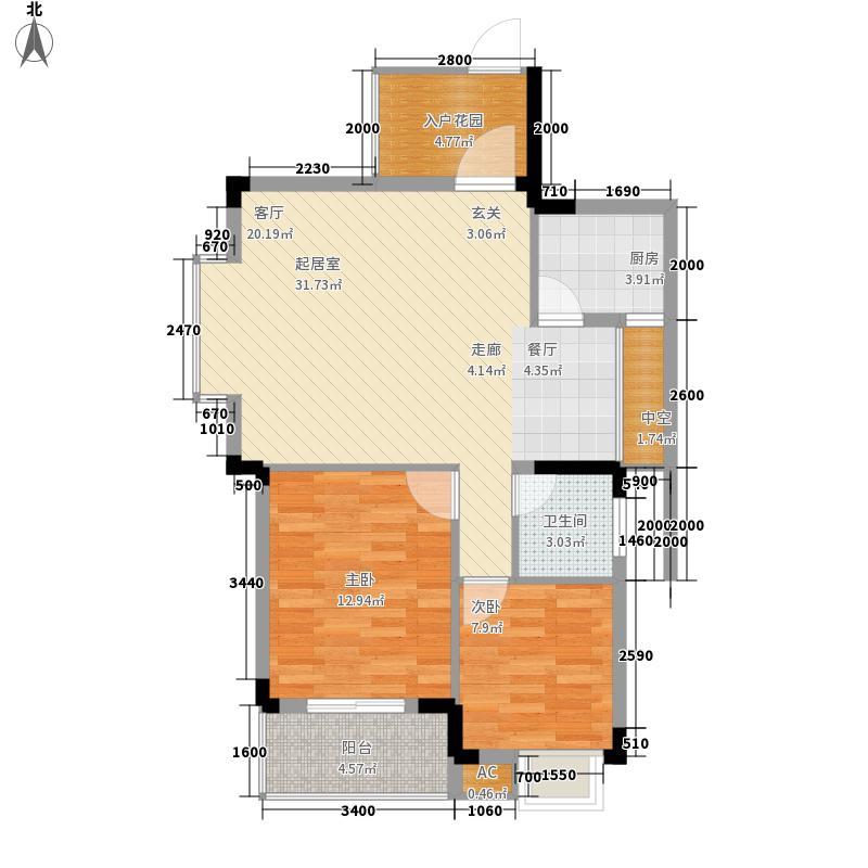 欣隆盛世观邸77.00㎡J户型2室2厅