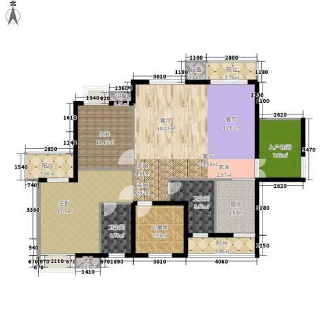 万花冲壹号3室1厅2卫1厨160.00㎡户型图