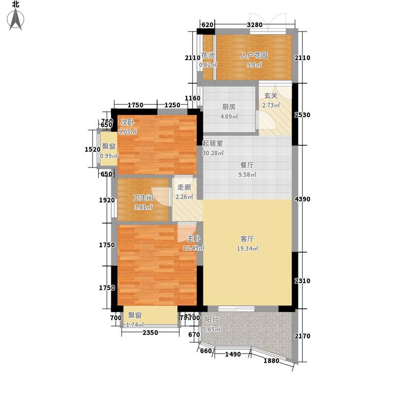 名家翡翠花园87.59㎡A-3户型2室2厅
