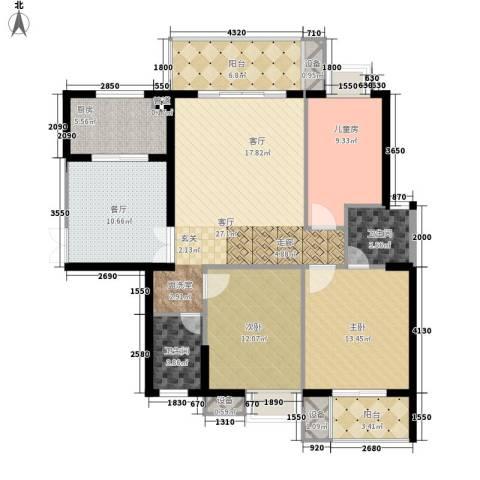 万花冲壹号3室2厅2卫1厨140.00㎡户型图