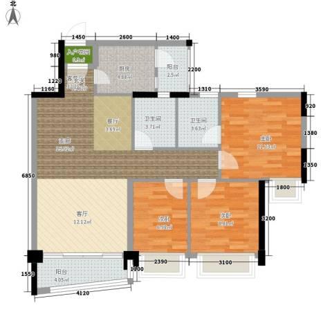 雅居乐・青花南湖3室1厅2卫1厨113.00㎡户型图