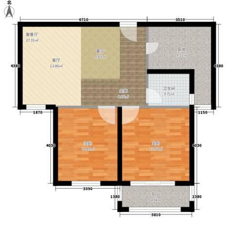 建业森林半岛2室1厅1卫1厨79.00㎡户型图