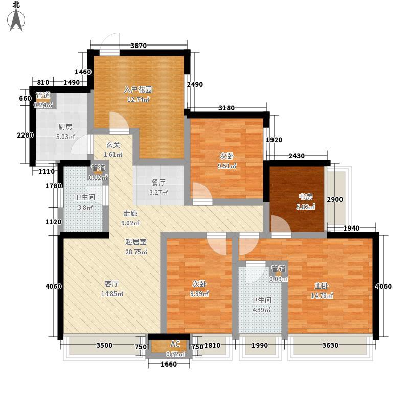博轩园133.77㎡一期7号楼标准层D面积13377m户型