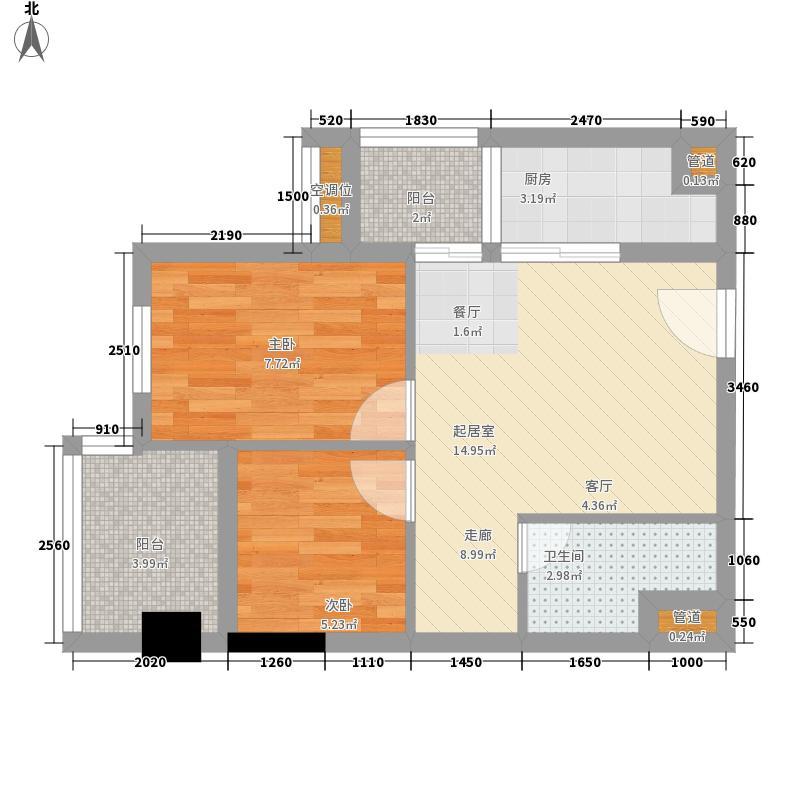 鹏达御西湖57.00㎡03户型2室1厅