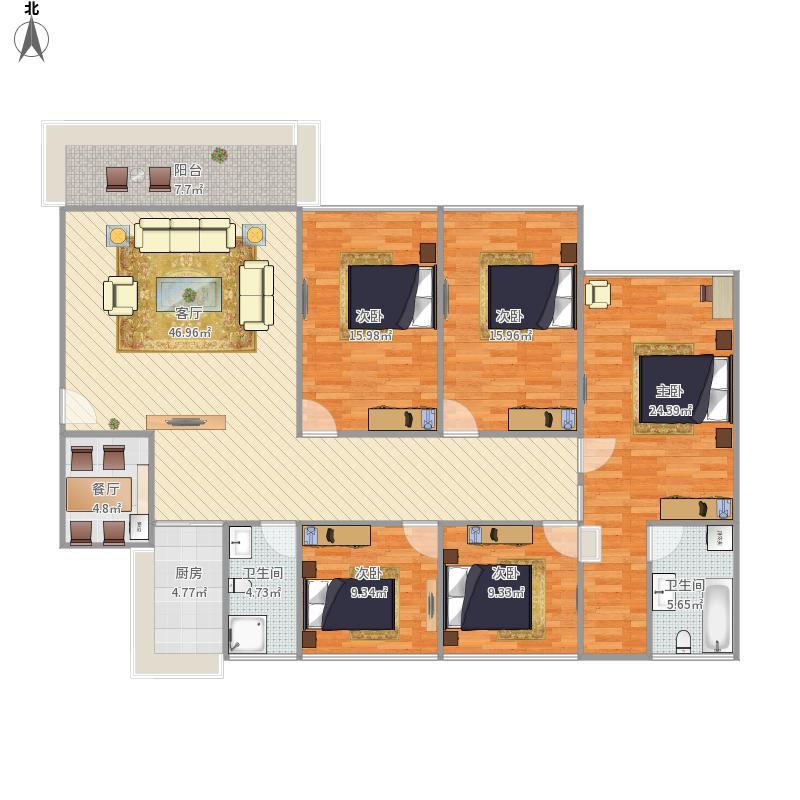 160平米5房2厅2卫