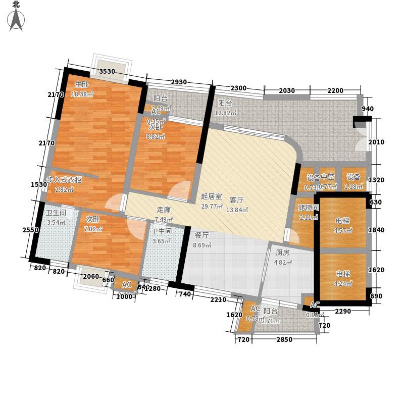 现代城市花园128.49㎡户面积12849m户型