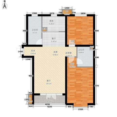 世纪家园2室0厅2卫1厨121.00㎡户型图