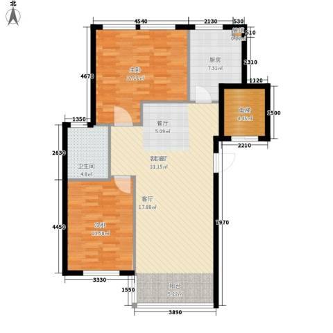 启明星座2室1厅1卫1厨93.00㎡户型图
