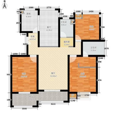 消防小区3室2厅2卫1厨133.00㎡户型图