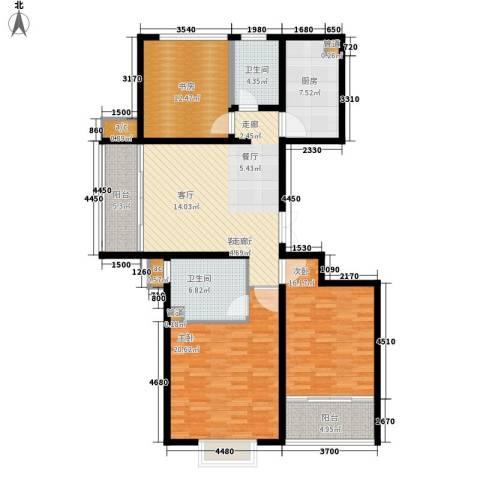 澄波湖壹号3室1厅2卫1厨122.00㎡户型图