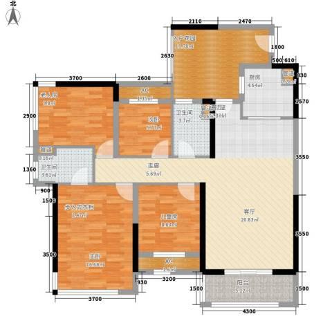 崇业路移动家属院4室0厅2卫1厨107.29㎡户型图