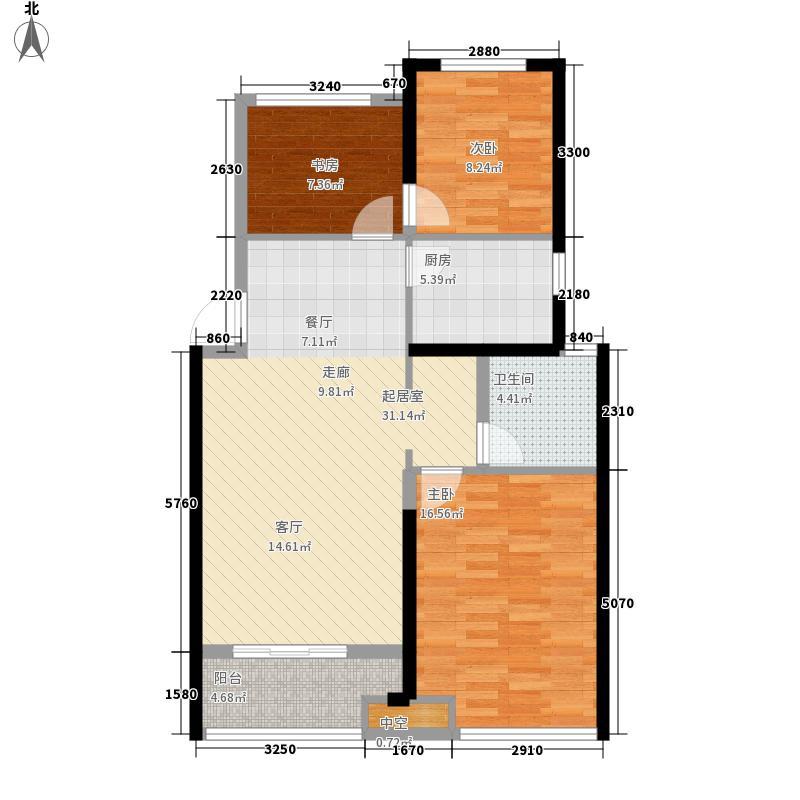 荣安香园89.00㎡高层J户型3室2厅