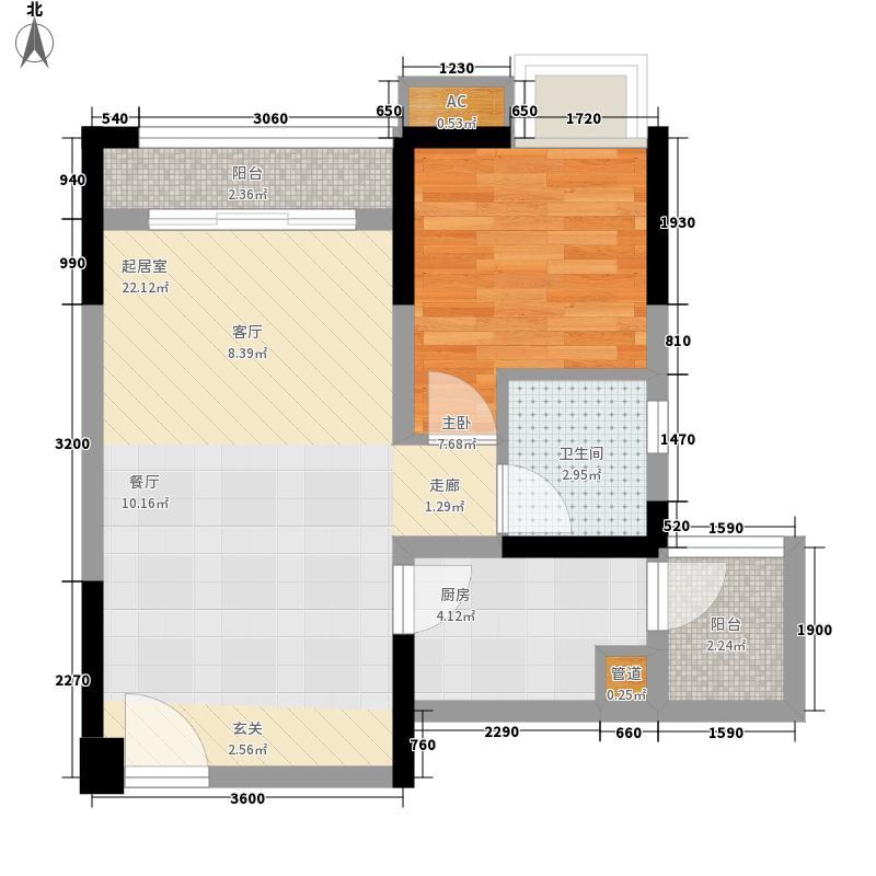 北城阳光尚线一期3号楼高层2号房户型1室2厅