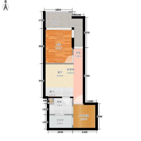 元邦明月园1室0厅1卫1厨47.00㎡户型图