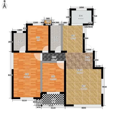 建秦苑3室1厅2卫1厨145.00㎡户型图