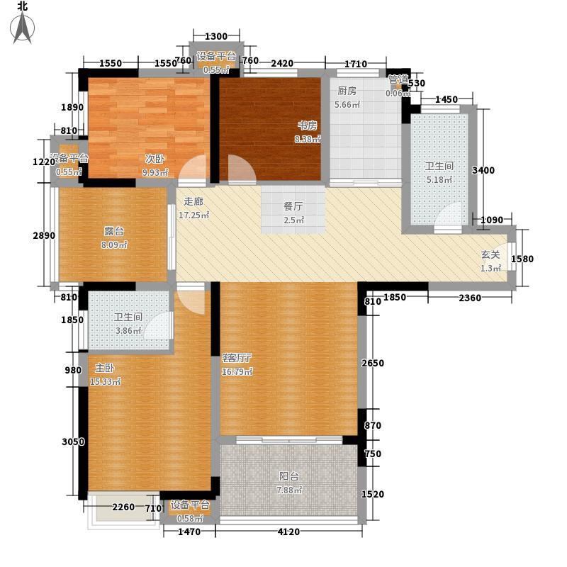 龙源湖国际广场120.00㎡三室两厅两卫户型3室2厅2卫
