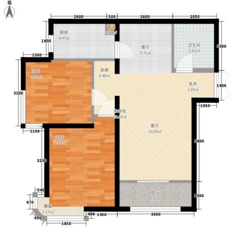天洋城4代2室0厅1卫1厨88.00㎡户型图