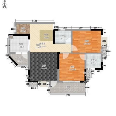 阳光汇2室0厅2卫1厨81.00㎡户型图