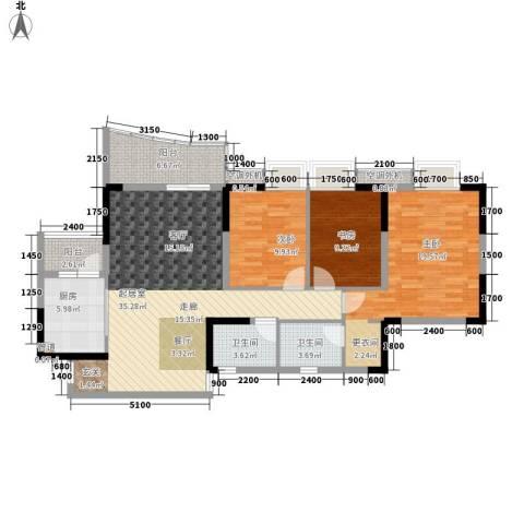阳光汇3室0厅2卫1厨104.00㎡户型图