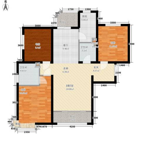 天洋城4代3室0厅2卫1厨129.00㎡户型图