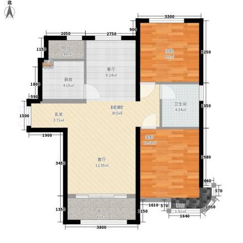 天洋城4代2室0厅1卫1厨96.00㎡户型图