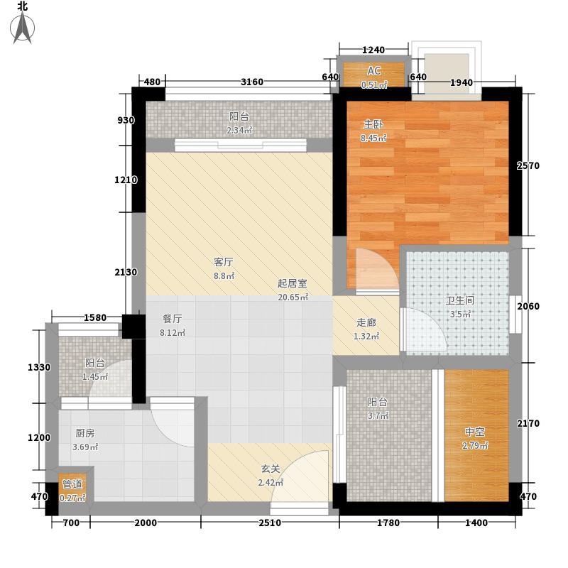 北城阳光尚线一期3号楼高层4号房户型1室2厅