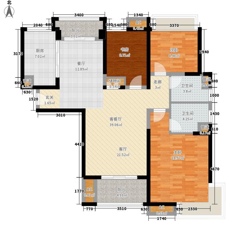 复地悦城117.00㎡户型3室2厅