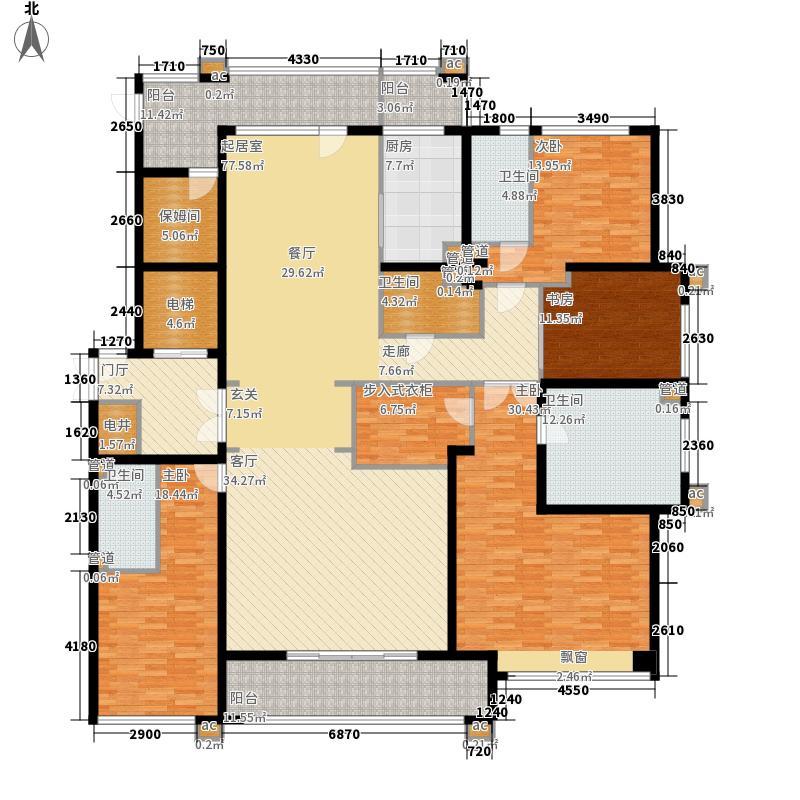 九龙仓雅戈尔铂翠湾270.00㎡E户型5室3厅